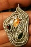 Mexican fire opal, green tourmaline andgarnet